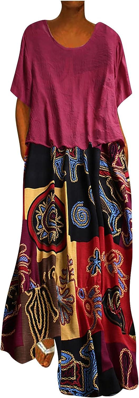 Summer Cotton Linen Dress Women Casual Plus Size Two Piece Dresses Short Sleeve Boho Dress Floral Print Pocket Gowns