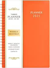 "2021 Planner - Weekly & Monthly Planner, 6.25"" x 8.3"", Jan. 2021 - Dec. 2021, Flexible Cover,12 Monthly Tabs, 21 Notes Pag..."