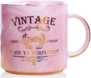 1989 30th Birthday Gifts for Women and Men Ceramic Mug - Funny Vintage 1989 Aged To Perfection - Anniversary Gift Idea for Him, Her, Mom, Dad Husband or Wife - Ceramic Marble Cups 13 oz (Pink)