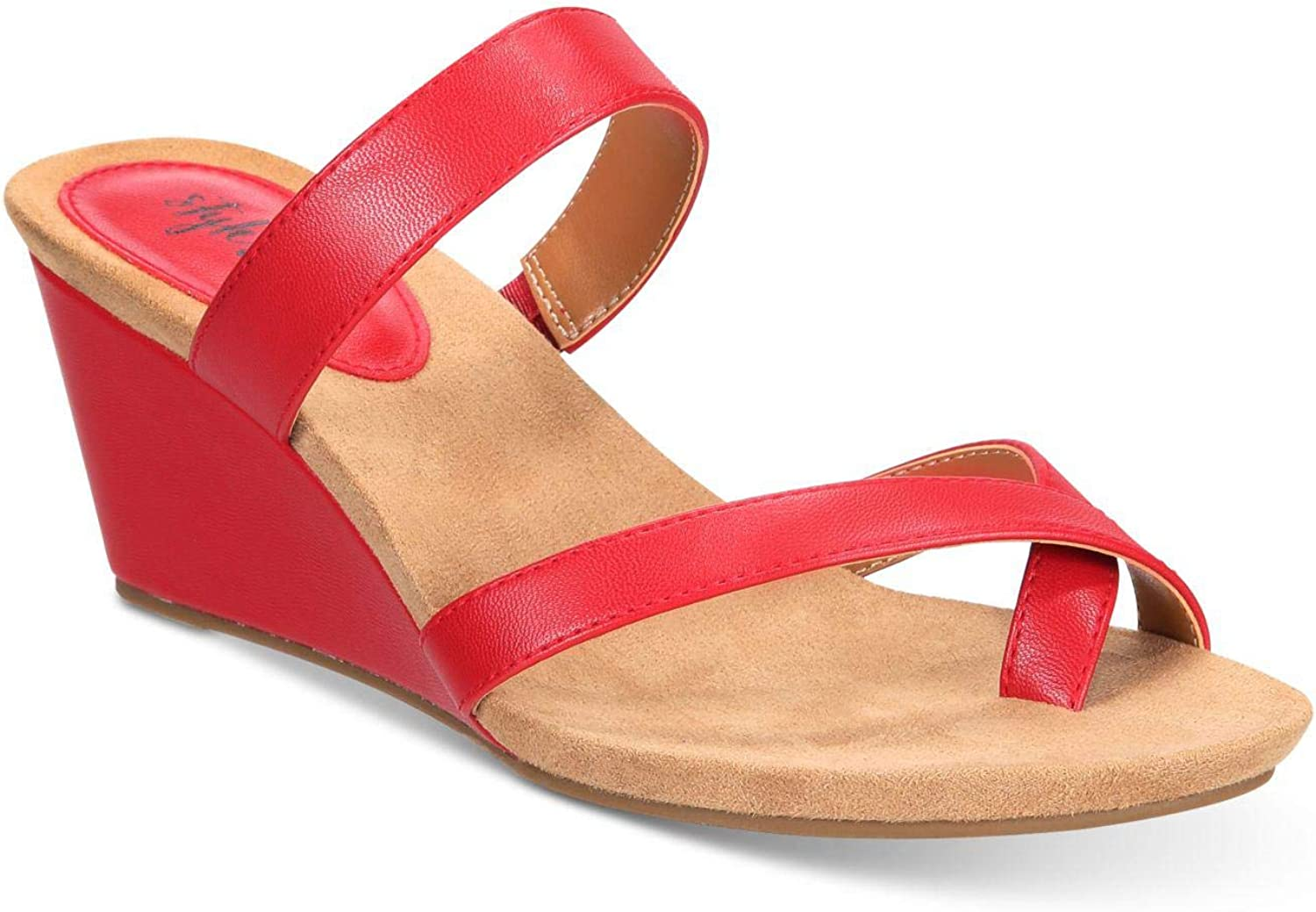 Style & Co. Womens Madelaa Toe Loop Faux Leather Wedge Sandals