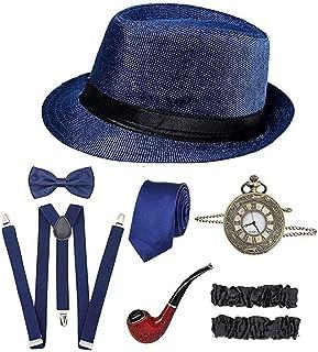 إكسسوارات 1920s للرجال 20s من جاتسبي غانغستر طقم إكسسوارات زي فيدورا قبعة حمالات (أزرق)