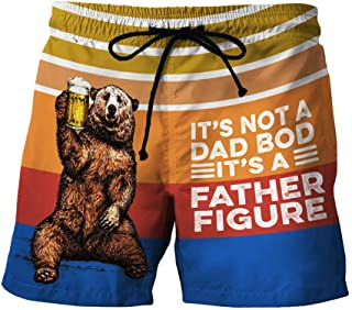 waitFOR Men Summer Beach Shorts Drawstring Pattern Printed Casual Short Trouser Man Quick Drying Swimming Surfing Pants Sw...