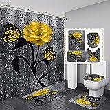 4 STK. Blumenduschvorhang-Sets mit rutschfesten Teppichen, Toilettendeckel & Badematte, Rose Flower Regentropfen-Duschvorhang mit 12 Haken, wasserdichter Stoff-Duschvorhang Badezimmerdekor