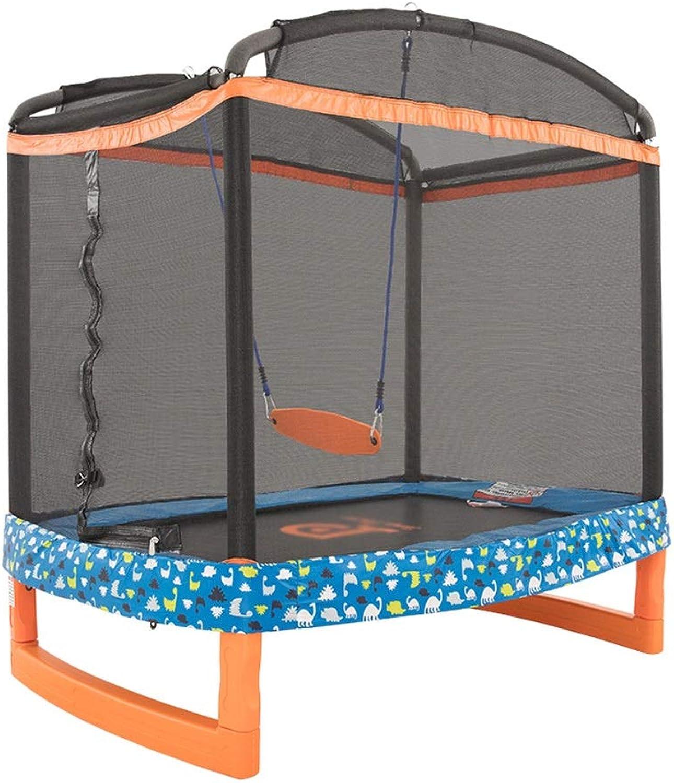 LKK Trampoline Home indoor swing Trampoline with predective net Fitness toy Can bear 100 kg (color   orange, Size   182.8  127  186CM)