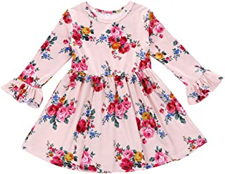 Toddler Baby Girl Pink Floral Dress Long Ruffle Sleeve Dress Casual Outfit Clothes