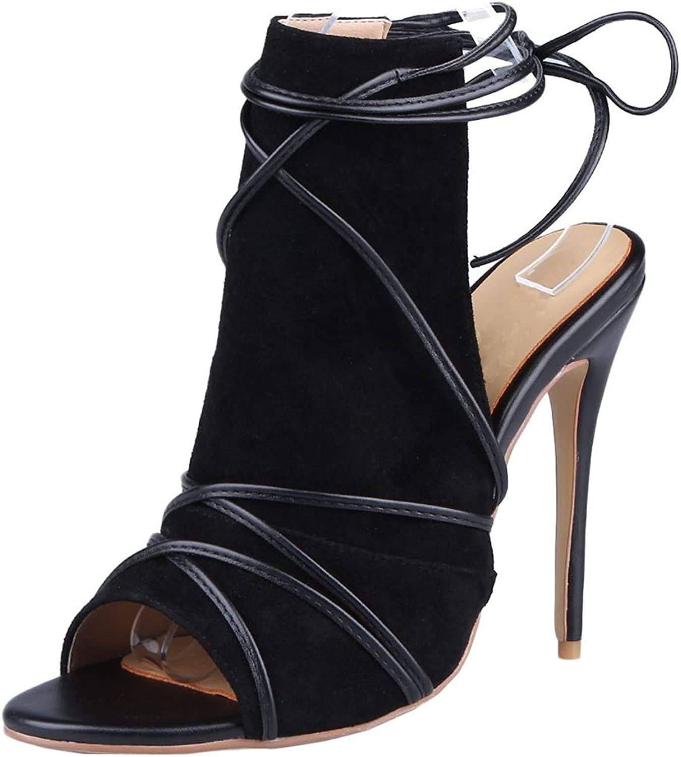 TDA Women's Peep Toe Slingback Gladiator Suede Evening Party Dress Sexy Stiletto Sandals