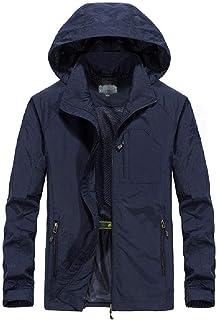 Abeaicoc Men's Outdoor Quick Dry Solid Full Zip Hoodies Windbreaker Jacket