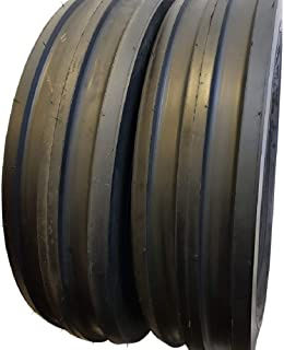 (2 TIRES + 2 TUBES) 7.50-16, 8 PLY ROAD CREW F2 3-Rib Farm Tractor Tires 7.50x16