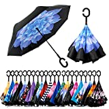Spar. Saa Double Layer Inverted Umbrella with C-Shaped Handle, Anti-UV Waterproof Windproof Straight Umbrella for Car Rain Outdoor Use (Blue Lotus)
