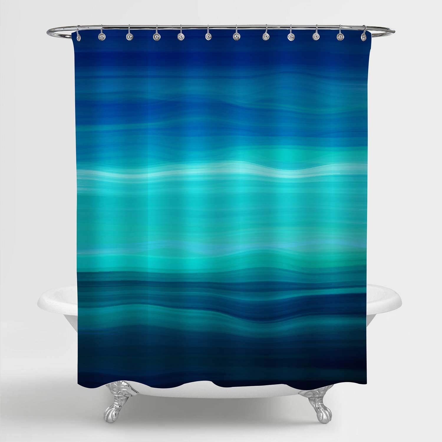 Aqua Blue MitoVilla Blue Green Ombre Striped Shower Curtain 50 W x 78 L Turquoise Teal Abstract Ocean Waves Geometric Art Print Bathroom Accessories for Contemporary Home Decorations Navy