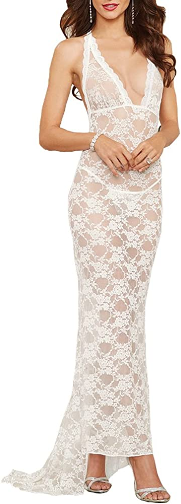 Shangrui, vestito lungo sexy per donna, con profondo scollo a V, in pizzo, bianco FZSCCW5003B