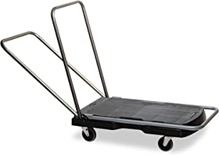 Rubbermaid 4400 Triple Trolley, Utility Duty/Straight Handle, 3-Inch Casters, Black