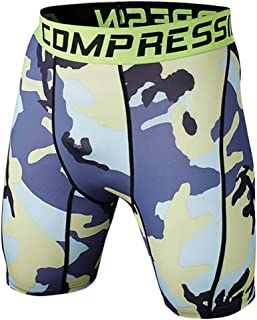 1Bests Men and Youth Boys Camouflage Gym Compression Tight Shorts Quick-Drying Breathable Running Fitness Underpants