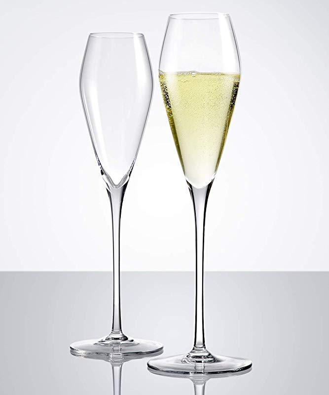 Crystal Champagne Glasses Set Of 2 Hand Blown Flutes Glasses 100 Pure Lead Free Finest Crystal Perfect For Wedding Gifts Anniversary 10 6 8 8 Oz Super Clear