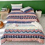 LAYENJOY Bohemian Duvet Cover Set Twin Size, 100% Cotton Bedding, Boho Retro Striped Print, 1 Geometric Comforter Cover with Zipper Ties 2 Pillowcases for Kids Teens Boys Girls