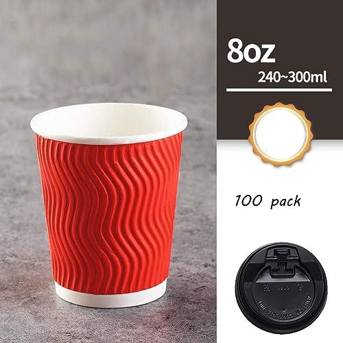 WMM-Disposable cup Hueco de Doble Capa con Tapa Taza de té, Vaso de Papel desechable, Tazas de café Caliente, Taza de Comida rápida (Paquete de 100 rojo) ( Color   negro Cover , Talla   8oz )