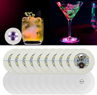 20pcs LED Coaster, Light Up Coasters, LED Bottle Light, Bottle Glorifier, LED Stickers Coaster Light Up for Drinks, Flash Light Up Cups Perfect for Party Weeding Bar (White)