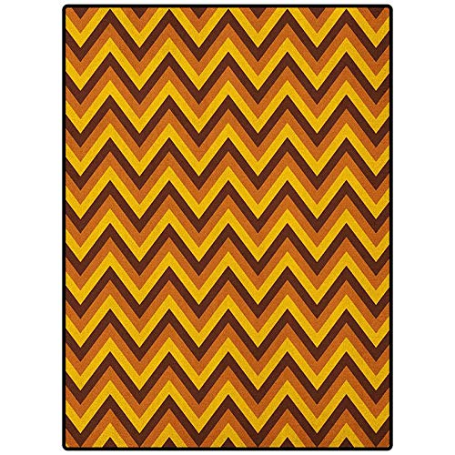 Yellow Chevron Outdoor Patio Rug Soft Nursery Rug for Kids Teens Room Chevron Pattern with Yellow and Brown Lines Classical Retro Brown Pale Brown Marigold 72' x 24'