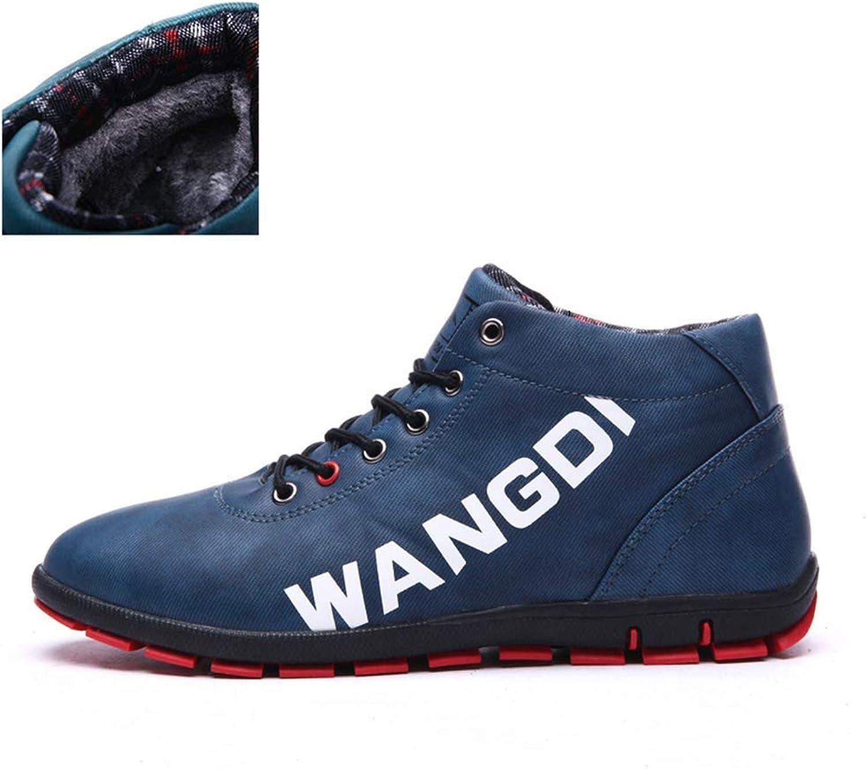 ZHRUI Men Winter Boots Fashion PU Warm Plus Cotton Ankle shoes Autumn Winter Male Outdoor Sneakers (color   bluee Fur, Size   8.5 UK)