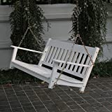 RUNADI Delahey Wood Outdoor Home Deck Yard Garden Porch Patio Swing Furniture Chair Set Seats 2 - White, Wide, Comfortable and Durable 1-Year Warranty