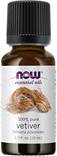 Now Foods Essential Oils, Vetiver Oil, Woodsy Aromatherapy Scent, Steam Distilled, 100% Pure Cap, 0.33 Fl Oz