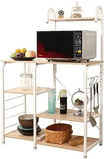 SogesPower Kitchen Baker's Rack 3-Tier+4-Tier Microwave Stand Storage Rack, White Maple