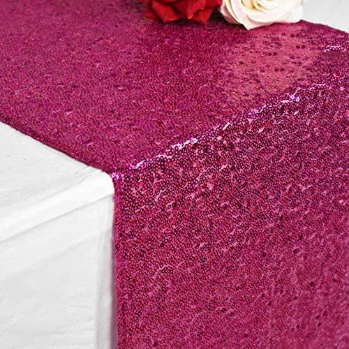 CADXDZS Camino de Mesa de Lentejuelas Verde navideño/Fucsia/Burdeos/Oro Rosa de 30x180cm para Mantel de Fiesta, decoración de Bodas, Caminos de Mesa