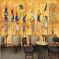 Iusasdz 3D写真壁紙レトロエジプトフレスコカスタムベッドルームリビングルーム壁紙バーレストラン背景壁画-200X140Cm