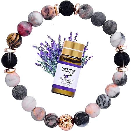 allentian Lava Rock Bracelet for women, Yoga Beads Essential Oil Diffuser Bracelet with Lavender Essential Oil, Inspirational Gifts For Women