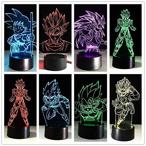 Dragon Ball Son Goku Acrílico Spirit Bombs Luminaria Holiday Night Light 3D LED Lámpara de mesa niños regalo de cumpleaños decoración de la habitación junto a la cama