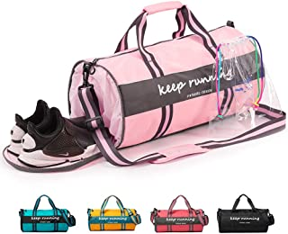 Girls Gym Sport Duffle Bag Wet Pocket Water - Proof With Shoes Compartment For Women & Teenagers Travel Duffel Bag For Weekender Travel bag Pink