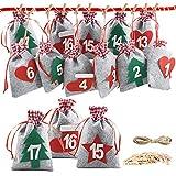 Nswiem Calendario dell'Avvento Calendario Avvento da Riempire 24 Sacchettini in Tessuto con 1-24 Numeri Sacchetto Regalo di Natale per DIY Deco Calendario di Natale