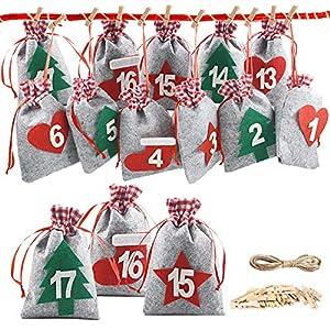 Nsiwem Calendario Adviento Navidad 24 pcs Saquitos de Tela Bolsas Calendario Bolsa para Regalo Navidad Bolsa Chuches Navideñas Cuenta Atrás para Navidad Decoración