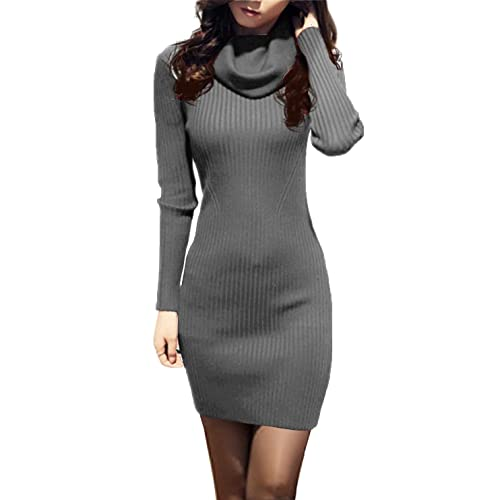 2c555ea3d380 v28 Women Cowl Neck Knit Stretchable Elasticity Long Sleeve Slim Fit Sweater  Dress