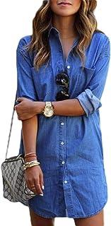 Women's Chambray Button Down Shirt, Long Sleeve Cotton Blouse, Long Jeans Shirt