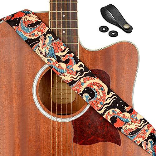 BestSounds Schedel Gitaar Band -Verstelbare Polyester Gitaar Band voor Bass, Elektrische & Akoestische Gitaren (Schedel Zwart) Azure Draak