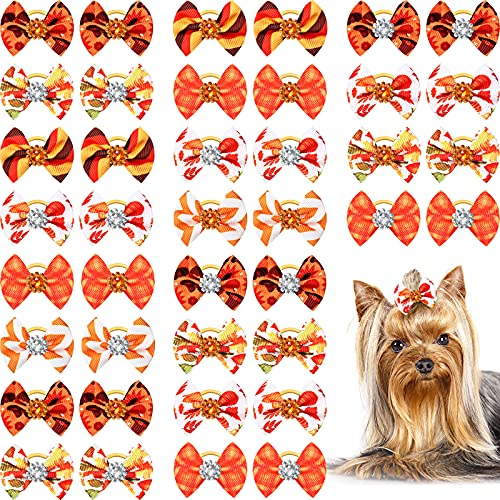 40 Pieces Small Dog Hair Bows with Rubber Bands Autumn Fall Dog Topknot Bow Pet Rhinestone Hair Topknot Bows Pet Handmade Hair Bowknot Grooming Accessories for Thanksgiving Pet Supplies, 20 Pairs