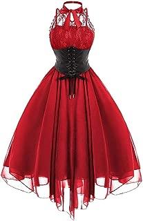 Lazapa Gothic Dress for Women, Sexy Lace Crewneck Sleeveless Tunic Dress Panel Chiffon Solid Color Vintage Dress Bandage Waist Midi Dress Cosplay Halloween Costume