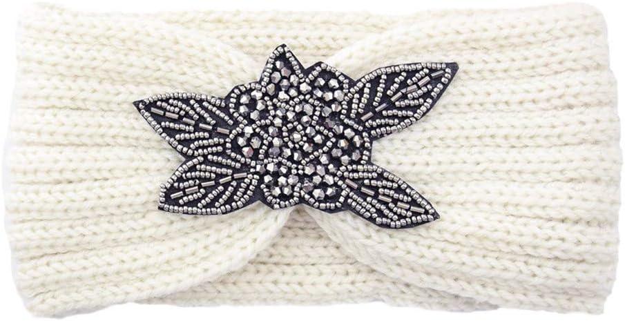Women's Chunky Cable Knitted Turban Headband Ear Warmer Head Wrap Diamond Wool Head Hairband Twisted Handmade Keep Warm Hairband Wide Hair Accessories Hat for Girls