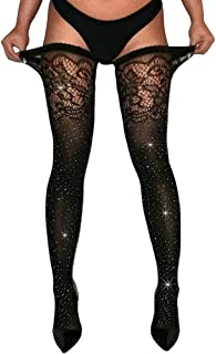 Women's Sparkle Rhinestone Stocking Sexy Shiny Socks Over Knee High Stocking