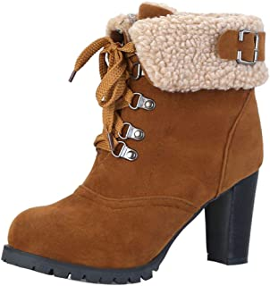 ELEEMEE Women Lace Up Snow Boots