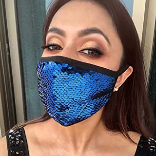 Yokawe Sparkly Sequin Mask Gold Dust Windproof Face Mask Masquerade Mardi Gras Party Nightclub Halloween Masks Jewelry for...