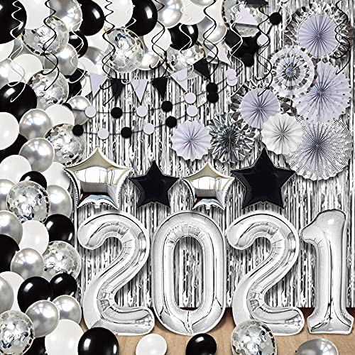 Huge Silver Graduation Balloon Arch Kit - Big Pack of 155   Silver Fringe Curtain, Pack of 3   Hanging Swirls, Paper Fans   Black and Silver Graduation Decorations 2021   Silver 2021 Balloons Garland