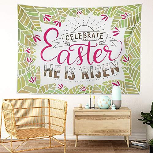Y·JIANG Tapiz de Pascua con cita dibujada a mano para celebrar la Pascua en el hogar, tapiz grande decorativo, manta ancha para colgar en la pared para sala de estar, dormitorio, 80 x 60 pulgadas