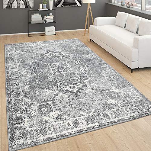 Paco Home Teppich Für Wohnzimmer, Vintage-Kurzflor Mit Orient-Look, Meliert Grau, Grösse:60x100 cm