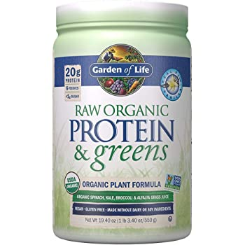 Garden of Life Raw Organic Protein & Greens Vanilla - 20 Servings, Vegan Protein Powder for Women and Men, Juiced Greens and 20g Plant Protein plus Probiotics & Enzymes, Gluten-Free Low Carb Shake