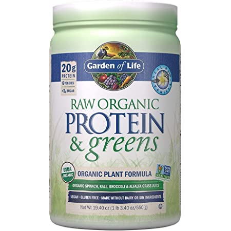Garden of Life Raw Organic Protein & Greens, Vanilla - Vegan Protein Powder with Juiced Greens, Kale, Spinach, Carrot, Beet - 20g Plant Protein Plus Probiotics & Enzymes, Low Carb Shake - 20 Servings