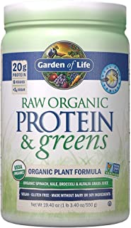 Garden of Life Greens and Protein Powder - Organic Raw Protein and Greens with Probiotics/Enzymes, Vegan, Gluten-Free, Vanilla,19.40 (1 lb 3.40oz/550g) Powder,Package may vary