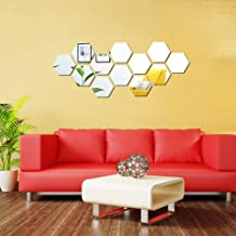 KISSBUTY Mirror Wall Stickers, 12 Pcs 11.8cm Hexagon Mirror Wall Decals Crystal Acrylic Removable Mirror Wall Stickers Wal...