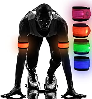 Emmabin [4 Pack LED Slap Armband Lights Glow Band for Running, Replaceable Battery - 4 Modes (Always Bright/Quick Flashing/Slow Flashing/Off), 35cm Glow Bracelets with 4Pcs Package